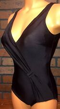 Sexy Black Deep Plunge Surplice Tummy Minimizer Swim Suit One Piece 10