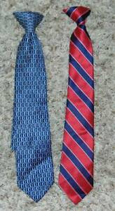 """2 Boys Clip On Ties Dockers Red & Blue Silk & Polyester 14"""" Long LNC"""