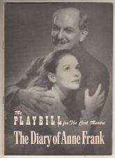 "Susan Strasberg & Joseph Schildkraut ""The Diary of Anne Frank""  Playbill 1956"
