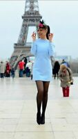 Rare! ZARA Pale Sky Blue Shift Dress With Gold Military Buttons Size Large L