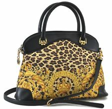 Auth GIANNI VERSACE Sunburst Flower Leopard PVC 2Way Shoulder Hand Bag C9290