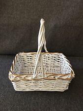 "White Wicker Basket with Gold Trim 13"""