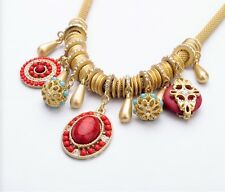 Vintage Chunky Red Sea Turquoise Mesh Rope Gold Tone Alloy Choker Necklace Drop