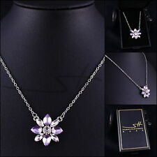Kette Halskette *Blume*, Silber, Weißgold pl., Swarovski Elements, Etui original