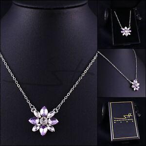 Halskette & Anhänger Blume, Kette Damen, Silber, im Etui, Schmuckhandel Haak®