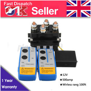 12V 500A HD Contactor Winch Control Solenoid Twin Wireless Remote Suit Recovery