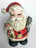 SANTA CLAUS COIN BANK HOMCO #5610 VINTAGE CHRISTMAS BEAR CANDY CANE PORCELAIN