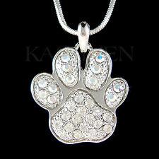 New w Swarovski Crystal Dog KITTY CAT Kitten Pawprint Paw Print Necklace Jewelry