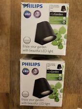 2x Philips myGarden Outdoor LED Wall Light Lamp Virga 3 W Black Aluminium New