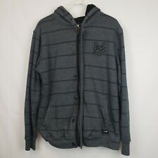Zoo York Mens Sweater Fleece Lined Zip up Hooded Gray Striped Size Large