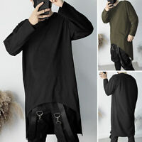 Men's Slim Fit O Neck Long Sleeve Asymmetric Tee Shirt Casual Muscle Tops Blouse