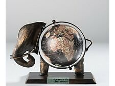 ELEPHANT METAL OLD WORLD STYLE GLOBE ORNAMENT - GIFTS! MEASURES 25 x 20 x 15cm