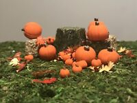 8 Small Miniature Fairy Garden, Doll House Pumpkins. Polymer Clay Miniatures