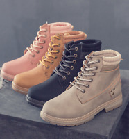 Women's Winter Work Martin Ankle Boots Outdoor Lace up Waterproof Casual Shoes