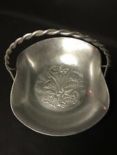 Keystoneware Hand Hammered Aluminum Basket with Twisted Handle Floral Bouquet