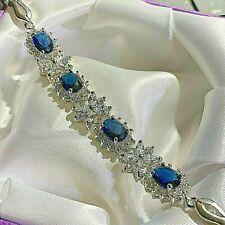"White Gold Bracelet Blue Oval Sapphire & Sim Diamond 7.5""/190x10mm BOXED Plum UK"