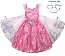 Girls Princess Dress Up Costume New Kids Pink Butterfly Wings Party Dresses 1-7Y