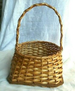 "Vintage Decorative Basket Planter Wicker with Handle  8"" x 8"" x  11"""