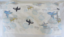 "Pottery Barn Kids Helicopter Airplanes Standard Pillowcase ""Aryana"" NWOT"