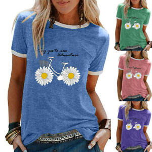 Womens Daisy Blouse T Shirt Pullover Tee Basic Holiday Loose Floral Ladies Tops