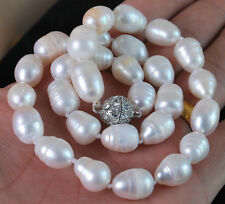 """9x10MM Genuine white akoya cultured pearl necklace 18"""" LL001"""