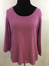 Laura Ashley Women's Pink Sparkle 3/4 Sleeve Scoop Neck Top Size L defoors16