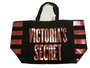Victoria's Secret Black & Pink Sequins Tote Large Bag Limited Edition NEW w/Tags