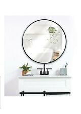 "Black 30"" Round Wall Mounted Mirror -Seconds see pics- Compliments Most Decor"
