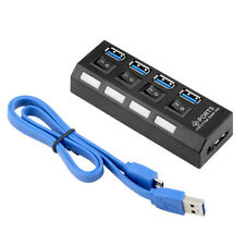 HUB USB 4 PORTE SPLITTER 3.0 HI-SPEED 5 Gbps Adattatore PC Laptop MAC Interruttori on off