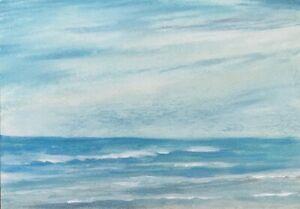 5 x 7 ORIGINAL PASTEL ACRYLIC ON CANVAS BOARD ART PAINTING NATURE SEASCAPE BEACH