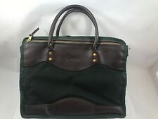 ORVIS Great Vintage Green Canvas and Brown Leather Briefcase Messenger Bag