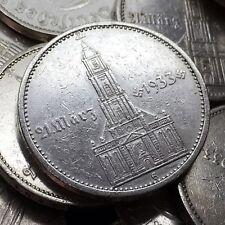 Rare Nazi Germany 1934 5 Reichsmark Garrison Church & Date Silver Swastika Coin