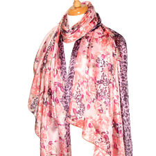 """Women's 100% Satin Silk Scarf / Pink / Floral / 70"""" X 42"""""""