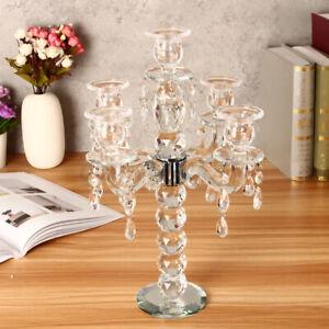 5 Arm Clear Crystal Candelabra Weddings Candle Holder 36cm Tall Candelabr