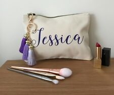 Personalised Make-up Bag/Cosmetic Pouch with Tassel - Purple- Birthday / Wedding