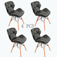Black Eiffel Retro Style Dining Office Chair Wooden Legs Lounge Padded Seat ×4