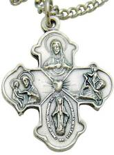 """Four Way Cross Crucifix Oxidized Silver Scapular Medal Necklace Boxed 1"""""""