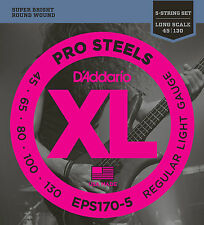 D'ADDARIO EPS170-5 PROSTEELS BASS STRINGS, REGULAR LIGHT GAUGE 5's -  45-130