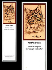 Maine Coon Cat Laminated Bookmark - Print from Original Pyrography Art