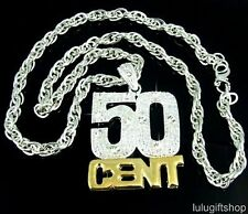 50CENT 50 CENT BLING BLING HIP HOP SILVER PLATED PENDANT CHAIN NECKLACE ICED OUT