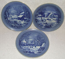 3 CURRIER & IVES WINTER SCENE FLOW BLUE PLATES HOMESTEAD FARMERS HOME WILDERNESS