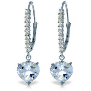 Genuine Aquamarine Gemstone Hearts & Diamonds Leverback Earrings 14K Solid Gold