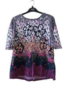 White Stuff Women Top UK 14 Short Flare Sleeve Blouse Multi Floral Keyhole