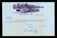 B. EISELE ⭐ HAVANA AND DOMESTIC CIGARS ⭐ MINNEAPOLIS MN LETTERHEAD BILLHEAD 1916