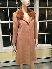 CINZIA ROCCA Beige Piacenza Baby Llama/Wool & Mink Fur Long Coat SIZE 0 X-Small