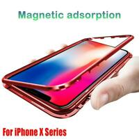 360° Case for iPhone X XR XS Max Magnetic Adsorption Tempered Glass Back Cover