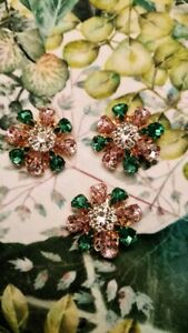 🌸🍀% Auth. green pink crystals  Dolce & Gabbana   Floral Replacement Buttons