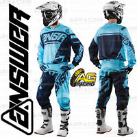 """Answer Syncron Blue Navy Adult Race Kit 28"""" Pants SM Jersey Motocross"""
