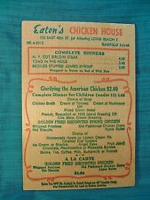 Vintage EATON'S American CHICKEN HOUSE WOODEN MENU Long Beach CALIFORNIA 1950s