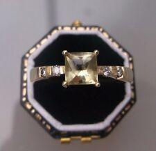 Women's 14ct Gold Diamond & Peridot Ring Stamped Size U 1/2 Weight 3.1g Quality